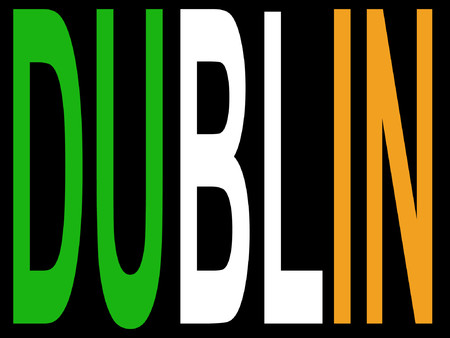 irish cities: City of Dublin and Irish flag illustration