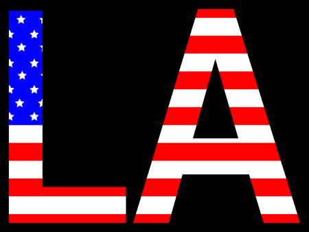 los angeles: City of Los Angeles und der amerikanischen Flagge Illustration Illustration
