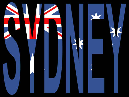 australische flagge: City of Sydney und australische Flagge Illustration