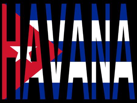 cubana: Ciudad de La Habana bandera cubana y la ilustraci�n