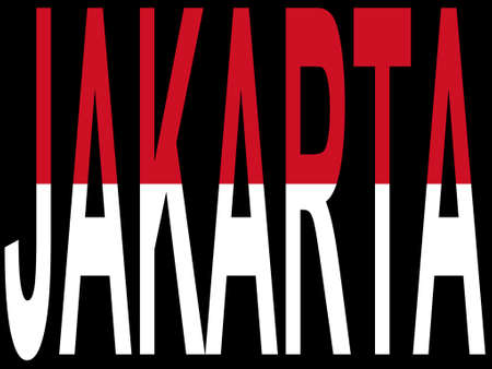 indonesisch: Stad Jakarta en Indonesische vlag Stock Illustratie