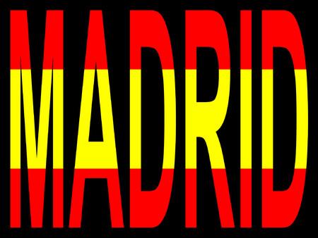 madrid: City of Madrid and Spanish flag illustration
