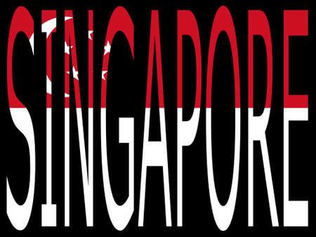 singaporean flag: City of Singapore and Singaporean flag illustration