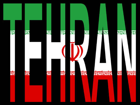 iranian: City of Tehran and Iranian flag illustration