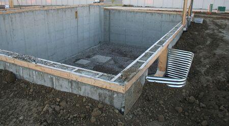 concrete foundation of suburban house