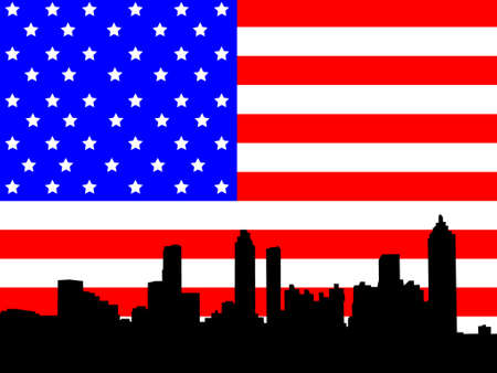 star spangled: Atlanta skyline against American flag Illustration