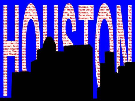houston: Houston skyline against colorful text