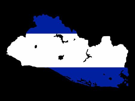 mapa de el salvador: mapa de El Salvador y la bandera salvadore�os ilustraci�n