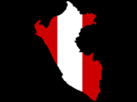 map of Peru and Pervian flag illustration Vector