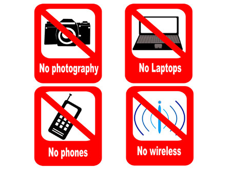 wifi sign: technology prohibited sign no phones laptops