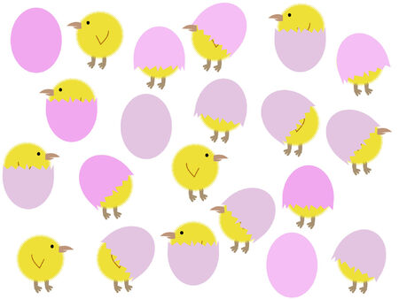 cartoon easter chicks and eggs illustration Vector