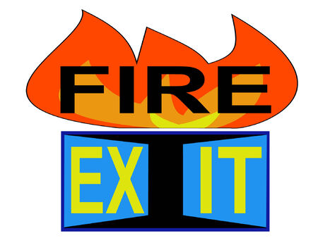 fire exit sign: fire exit sign with flames and doorway