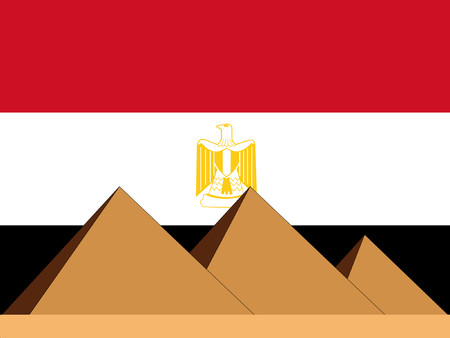 egyptian culture: pyramids of egypt and Egyptian flag Illustration