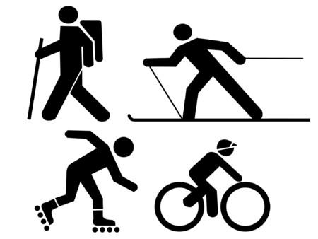 figures exercising hiking skiing skating and cycling