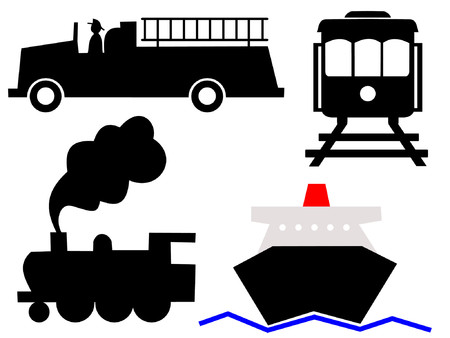 assorted vehicles symbols fire truck ocean liner steam train and tram Illustration