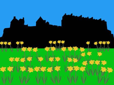 edinburgh: Edinburgh Castle in de lente met narcissen