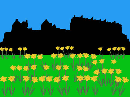 citadel: Edinburgh castle in springtime with daffodils