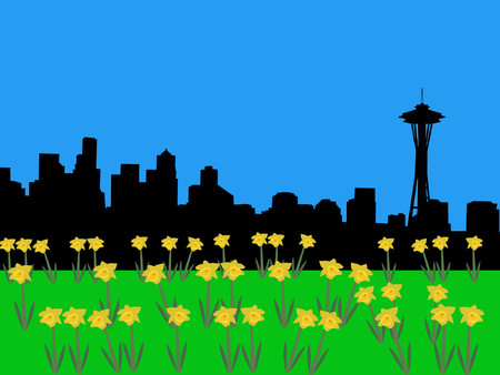 Seattle skyline in springtime with daffodils Vector