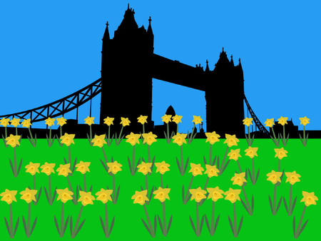 gherkin building: Tower Bridge in springtime with daffodils Illustration