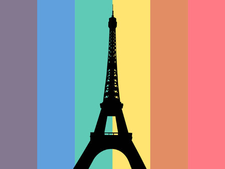 Eiffel tower with rainbow flag illustration Vector