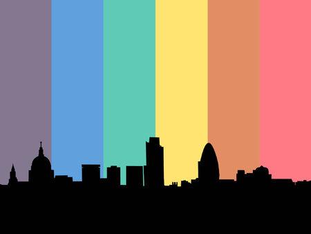 gay: London Skyline mit Regenbogenfahne Illustration