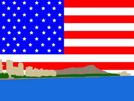 oahu: Waikiki Skyline and American Flag