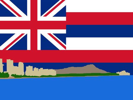 oahu: Waikiki Skyline and Hawaiian Flag