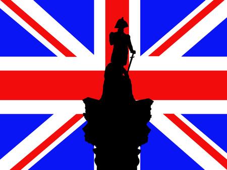 Nelson Trafalgar Square against British Flag Vector