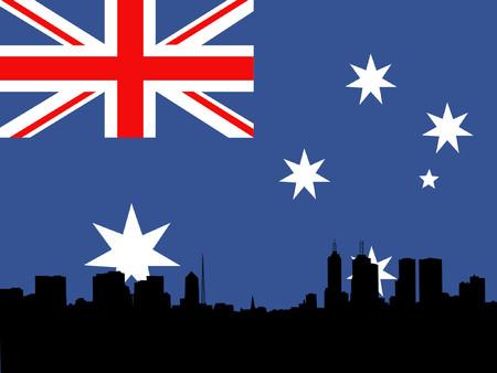 Melbourne Skyline against Australian flag Vector