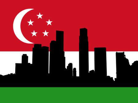 Singapore Skyline against Singaporean flag