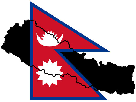 map of Nepal and Nepalese flag illustration Vector