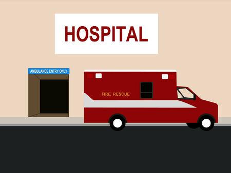 emergency vehicle: Pronto soccorso di emergenza al di fuori camera ingresso Vettoriali
