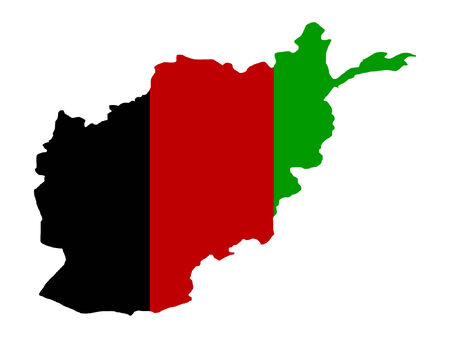 afghanistan flag: map of Afghanistan and Afghan flag