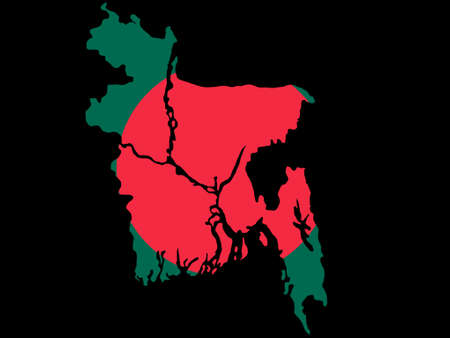 map of Bangladesh and Bangladeshi flag illustration Vector