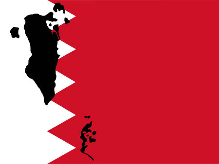 map of Bahrain and  flag illustration Vector