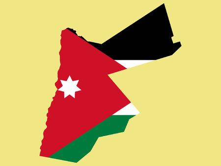 jordanian: Kaart van Jordanië en vlag illustratie