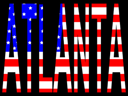 Atlanta and American flag illustration Illustration