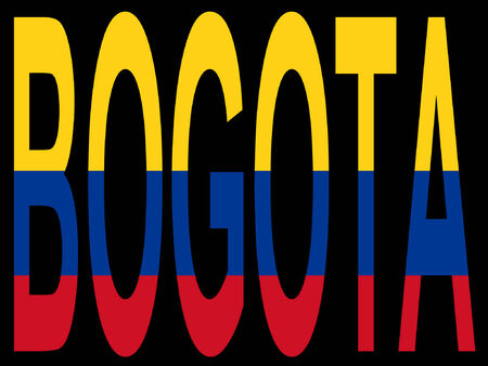 columbian: Bogota and Columbian flag illustration