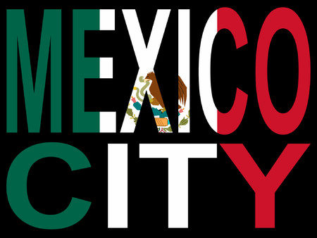 rattle snake: Mexico city and Mexican flag illustration Illustration