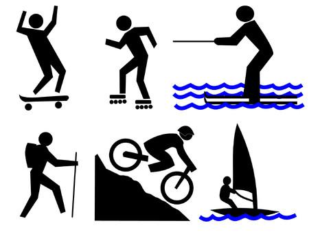 people hiking: sport activities  water skiing, mountain biking