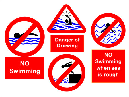 No swimming during rough seas sign Vector