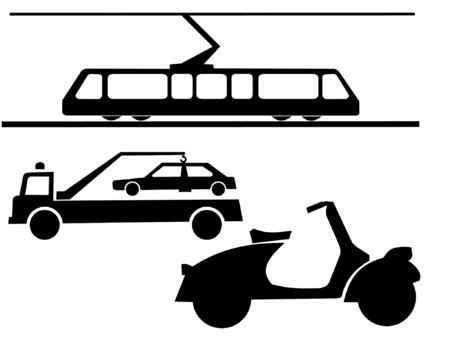 moped: vehicle silhouettes tram, tow truck and moped