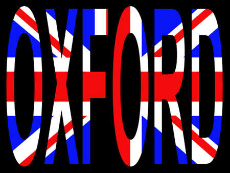 oxford: City of Oxford and British flag illustration