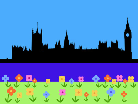 Houses of parliament London with spring flowers Vector