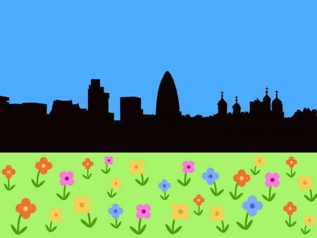 gherkin building: London Skyline with springtime flowers Illustration
