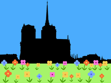 Notre Dame Paris with springtime flowers Stock Vector - 826012