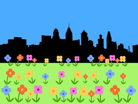 philadelphia: Philadelphia skyline with springtime flowers Illustration