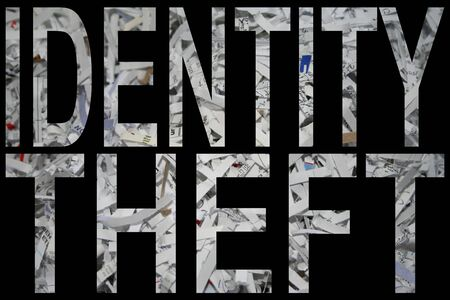 identify theft with shredded paper background photo