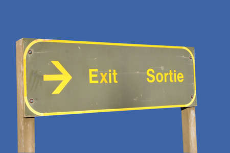 bilingual: Bilingual exit sign in French and English Stock Photo