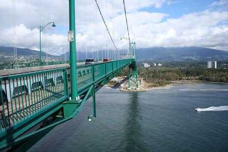 span of Lions Gate Bridge Vancouver Canada Stock Photo